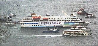MV Mavi Marmara - Mavi Marmara making a tour of Istanbul harbour on the occasion of her return to Istanbul