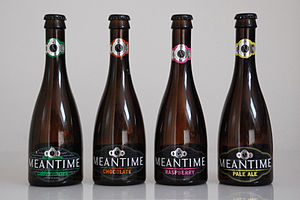 Meantime Brewery - Meantime beer bottles, from left: Coffee Porter, Chocolate, Raspberry, Pale Ale
