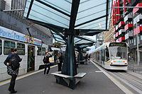 Melbourne University tram stop, looking north, 2013 (2).JPG