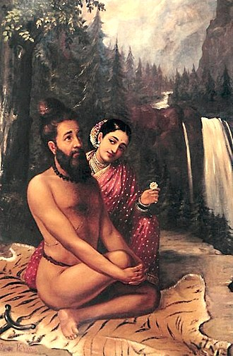 Rishi - Rishi Vishwamitra In above image, Menaka trying to win him over from an aloof ascetic life to a householder life.