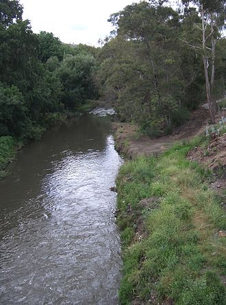 Merri Creek - Evidence of revegetation is visible on the right-hand bank of the river.