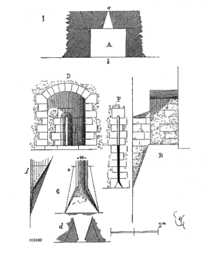 Arrowslit - An arrowslit at Cité de Carcassonne. The wall thickness is reduced to 0.7 m to accommodate the niche and the embrasure widens at an angle of 35°.