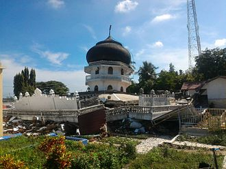 2016 Aceh earthquake - Masjid Jami' Quba Pangwa in Kuta Pangwa village, Trienggadeng subdistrict, Pidië Jaya Regency collapsed in the earthquake