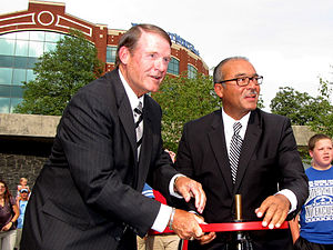 Michael B. Coleman - American Electric Power CEO Michael G. Morris (left) and Columbus Mayor Michael B. Coleman (right) open the valve to inaugurate the new AEP Fountain at the reopening of Bicentennial Park in Columbus on July 7, 2011.