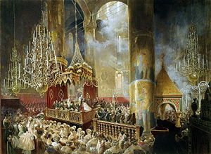 1856 in Russia - Mihály Zichy - Coronation of Alexander II (1857, Hermitage)