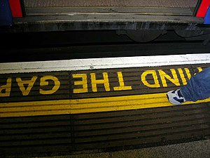 Railway platform - A common marking at curved platforms on the London Underground.