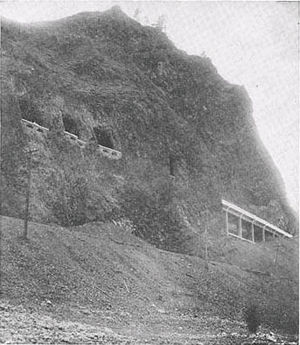Mitchell Point Tunnel - Looking up from the river