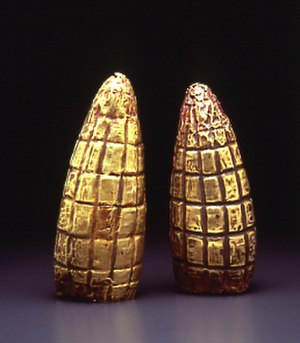 Latin American culture - Gold maize. Moche culture 300 A.D., Larco Museum, Lima, Peru.