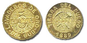 Tierra del Fuego gold rush - An 1889 5-gram gold coin from Tierra del Fuego by Julius Popper