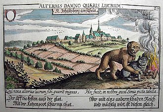 The Monkey and the Cat - An adaptation of Gheeraert's figure illustrating an engraving of the Schloss Johannisberg vineyards