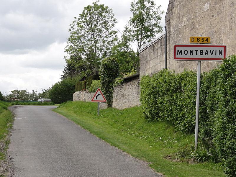 Montbavin (Aisne) city limit sign