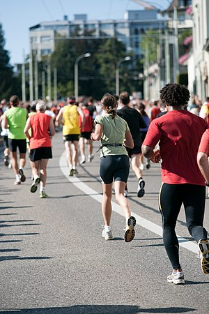 Long-distance running - A group of amateur runners in a long-distance race in Switzerland.