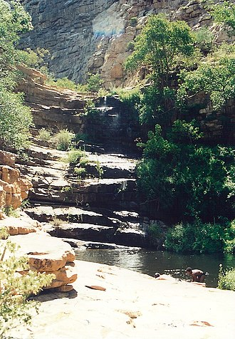 Palapye - Cascades connect the pools at Moremi Gorge