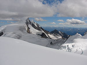 Resplendent Mountain - View of Resplendent from the Dome, upper Robson glacier