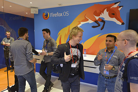 Mozilla stand at MWC 2014 with firefox logo and fox.jpg