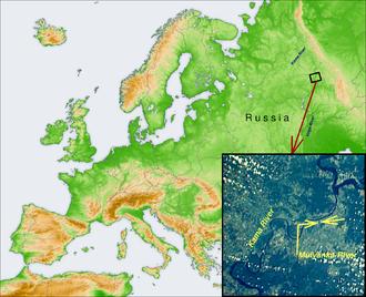 Mulyanka River - Mulyanka River location in Europe