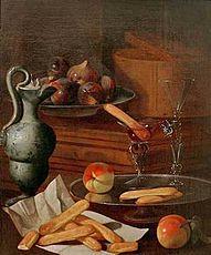 Munari, Cristoforo - Eisbehälter, Majolikakanne, Gläser und Löffelbiskuits - c. 1714.jpg