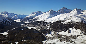 Engadin - View of the Upper Engadine from Muottas Muragl looking southwest