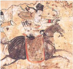 You Prefecture - Painting of a Murong Xianbei archer.  The Murong Xianbei ruled You Prefecture at the beginning and end of the 4th Century through the Former Yan and Later Yan Kingdoms.