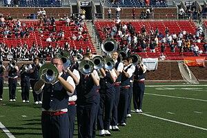 Southern Methodist University Mustang Band - One of many uniform combinations, November 2005