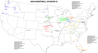 College basketball - Map of NAIA Division II