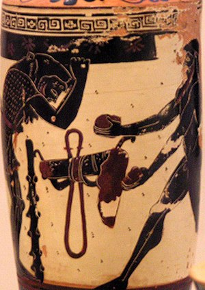 Athena Painter - Heracles and Atlas, on a lekythos by the Athena Painter, ca. 490-480 BCE, National Archaeological Museum, Athens.