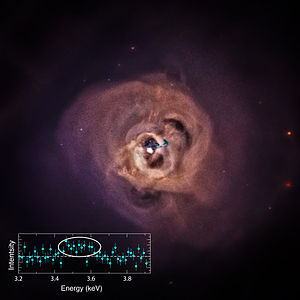 "Intracluster medium - Chandra image of the Perseus Cluster's radio lobes. These relativistic jets of plasma emit radio waves, are X-ray ""cold"", and appear as dark patches in stark contrast to the rest of the ICM."