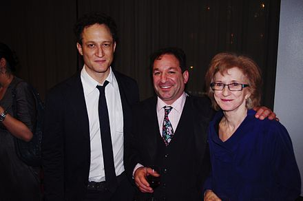 John Reed, David Biespiel and Wright at the after party for the National Book Critics Circle Awards, March 2012 NBCC Awards After Party 2012 Shankbone 26.JPG