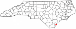 Location of Wrightsville Beach, North Carolina
