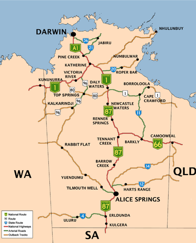 Map Northern Territory List of highways in the Northern Territory   Wikipedia Map Northern Territory
