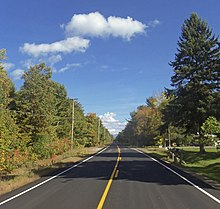 A two-lane highway in a forested area on a clear day in early autumn. After a slight curve in the foreground, it goes straight through the woods to a distant vanishing point.