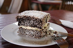 A cream filled lamington