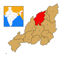 Mokokchung district's location in Nagaland