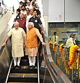 Narendra Modi arrives at the inauguration ceremony of Badarpur-Faridabad Metro Line, at Faridabad. The Governor of Punjab and Haryana and Administrator, Union Territory, Chandigarh, Prof. Kaptan Singh Solanki.jpg