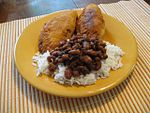 Natchitoches meat pies with beans and rice