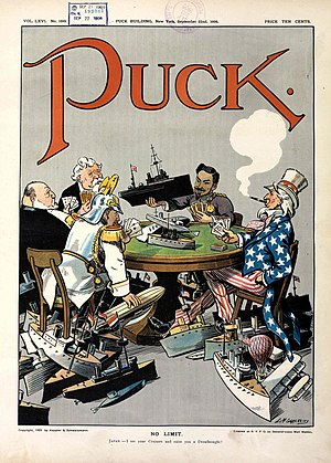 "Causes of World War I - 1909 cartoon in Puck shows (clockwise) US, Germany, Britain, France and Japan engaged in naval race in a ""no limit"" game."
