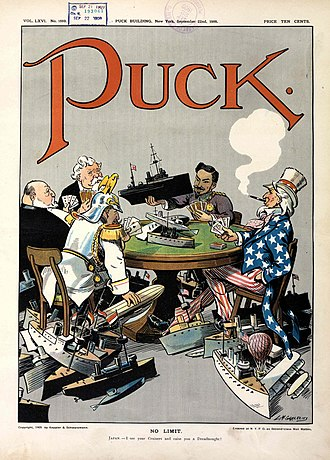 "National personification - 1909 cartoon in Puck shows (clockwise) US, Germany, Britain, France and Japan engaged in naval race in a ""no limit"" game."
