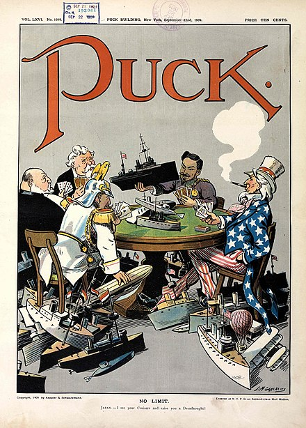 1909 cartoon in Puck shows five nations engaged in naval race