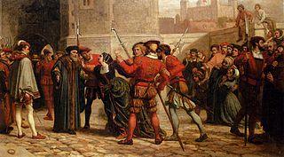 El encuentro desirTomás Moro con su hija tras su sentencia de muerte (The meeting of Sir Thomas More with his daughter after his sentence of death), por William Frederick Yeames (1872).