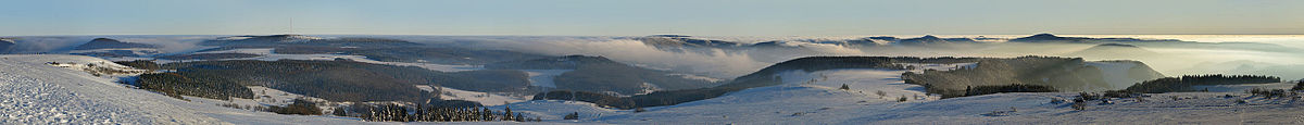 An unusual weather situation. Fog flowing over the Rhön Mountains.