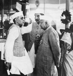 Rajendra Prasad - Jawaharlal Nehru, Bhulabhai Desai, and Rajendra Prasad (Center) at the AICC Session, April 1939