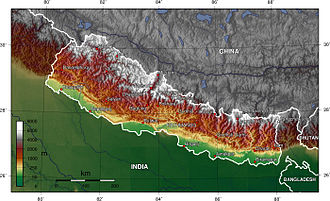 Gaur, Nepal - Nepal topography. The green/yellow zones hold the Inner Terai valleys.