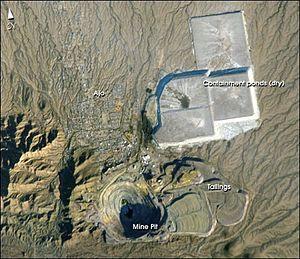 Ajo, Arizona - Ajo and the New Cornelia mine. NASA photo