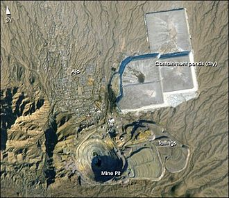 Ajo, Arizona - Ajo and the New Cornelia mine. NASA photo