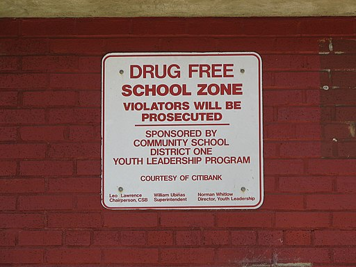 New York City Drug Free School Zone Sign