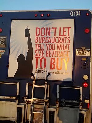 Sugary Drinks Portion Cap Rule - Soft drink size limit protest sign placed on a delivery truck by New York's Pepsi bottler