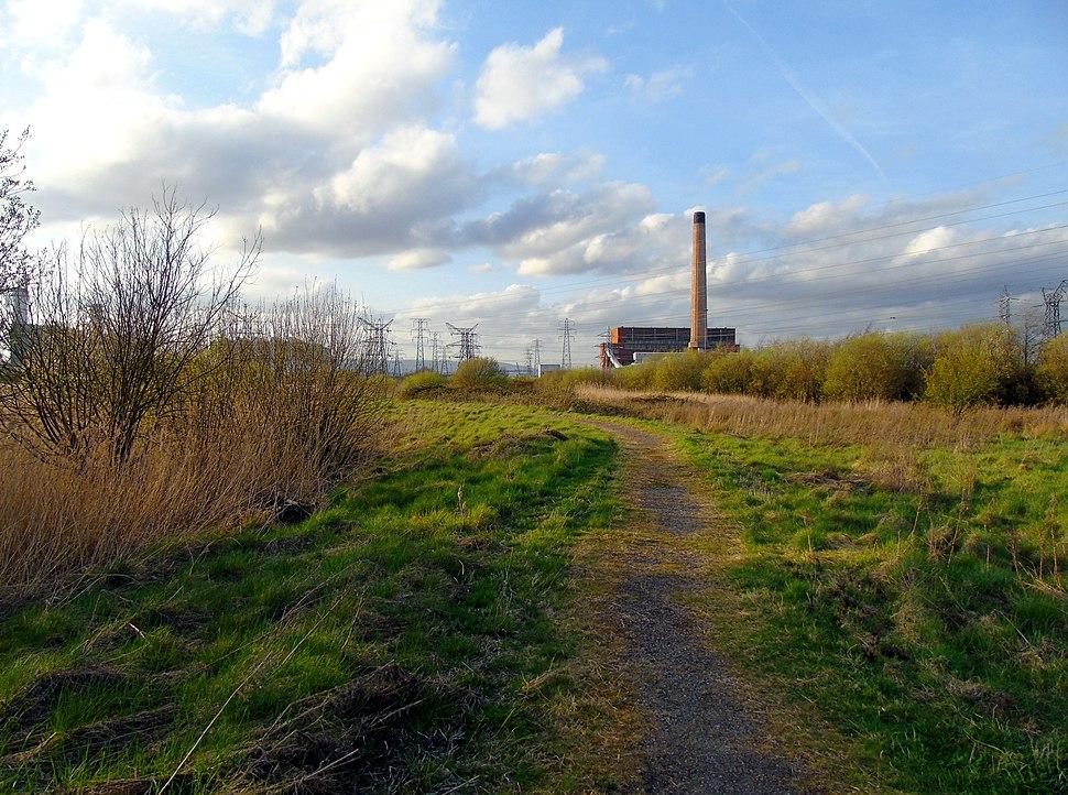 Newport Wetlands RSPB Reserve Westward Path Alongside Power Station
