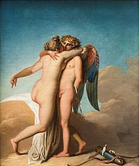 Amor and Psyche embracing each other