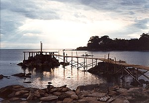 Lake Malawi - A jetty juts into the lake at Nkhata Bay