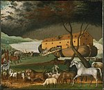 A painting by the American Edward Hicks (1780-1849), showing the animals boarding Noah's Ark two by two.